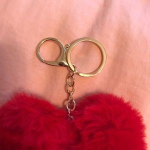 Accessories - Red Fluffy Heart Keychain